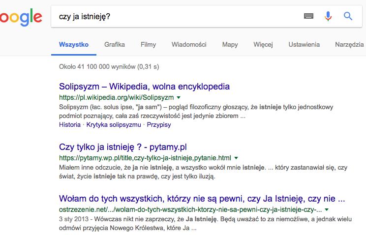 zrzut z ekranu, pytanie wpisane w wyszukiwarkę Google