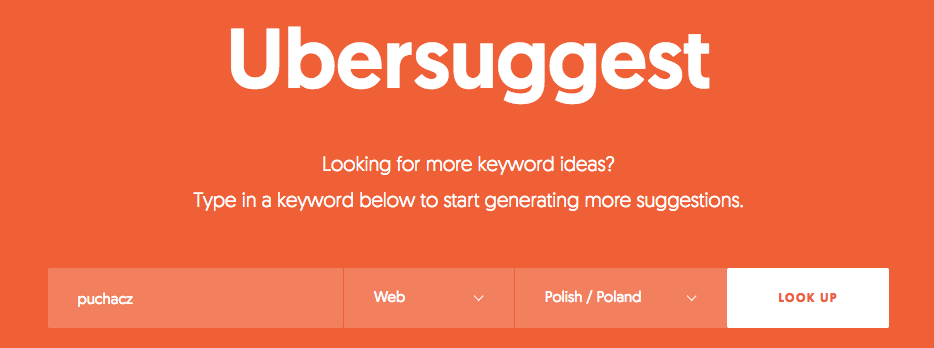 Okno wyszukiwań w programie Ubersuggest